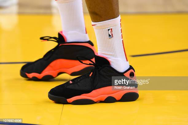 Sneakers of PJ Tucker of the Houston Rockets on January 3 2019 at ORACLE Arena in Oakland California NOTE TO USER User expressly acknowledges and...