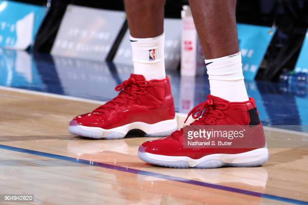 Sneakers of Rajon Rondo of the New Orleans Pelicans during the game against the New York Knicks on January 14 2018 at Madison Square Garden in New...