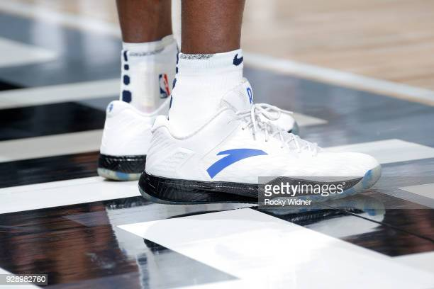 Sneakers of Rajon Rondo of the New Orleans Pelicans during the game against the Sacramento Kings on March 7 2018 at Golden 1 Center in Sacramento...