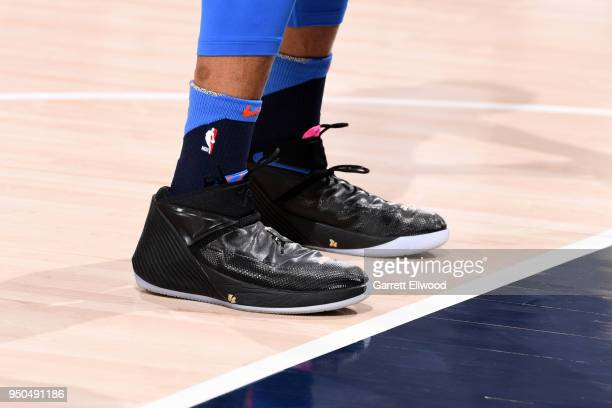 Sneakers of Russell Westbrook of the Oklahoma City Thunder before the game against the Utah Jazz in Game Four of Round One of the 2018 NBA Playoffs...