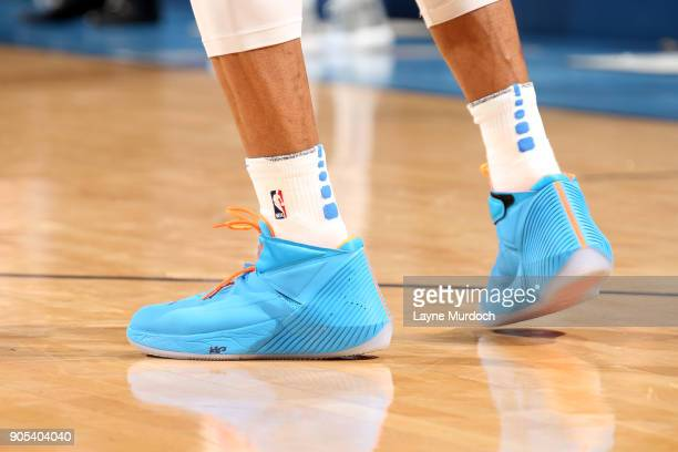Sneakers of Russell Westbrook of the Oklahoma City Thunder during the game against the Sacramento Kings on January 15 2018 at Chesapeake Energy Arena...