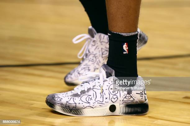 Sneakers of Spencer Dinwiddie of the Brooklyn Nets before the game against the Oklahoma City Thunder as part of the NBA Mexico Games 2017 on December...