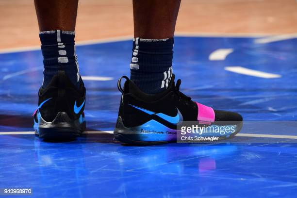 Sneakers of Stanley Johnson of the Detroit Pistons during the game against the Toronto Raptors on April 9 2018 at Little Caesars Arena Michigan NOTE...