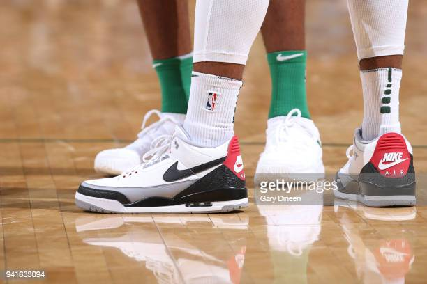 Sneakers of Sterling Brown of the Milwaukee Bucks during game against the Boston Celtics on April 3 2018 at the BMO Harris Bradley Center in...