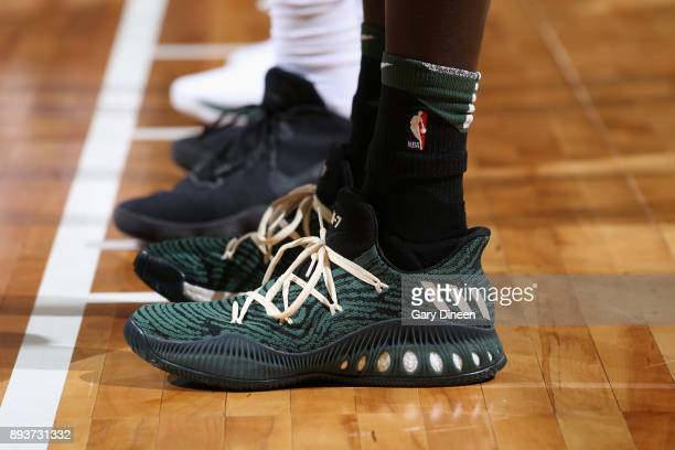 Sneakers of Thon Maker of the Milwaukee Bucks drives to the basket against the Chicago Bulls on December 15 2017 at the BMO Harris Bradley Center in...