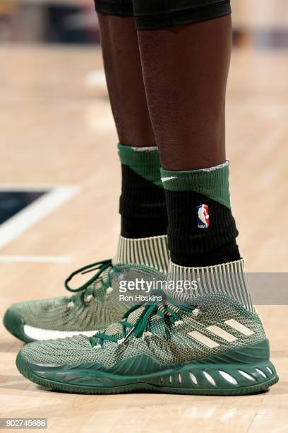 Sneakers of Thon Maker of the Milwaukee Bucks during the game against the Indiana Pacers on January 8 2018 at Bankers Life Fieldhouse in Indianapolis...