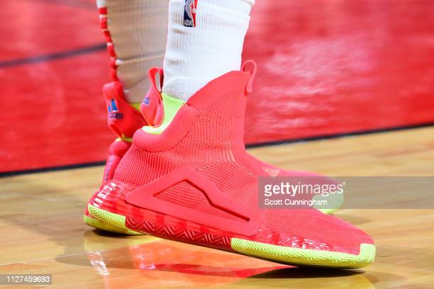 Sneakers of Trae Young of the Atlanta Hawks seen during the game against the Houston Rockets on February 25 2019 at the Toyota Center in Houston...