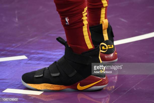 Sneakers of Tristan Thompson of the Cleveland Cavaliers seen prior to the game against the Los Angeles Lakers on January 13 2019 at STAPLES Center in...