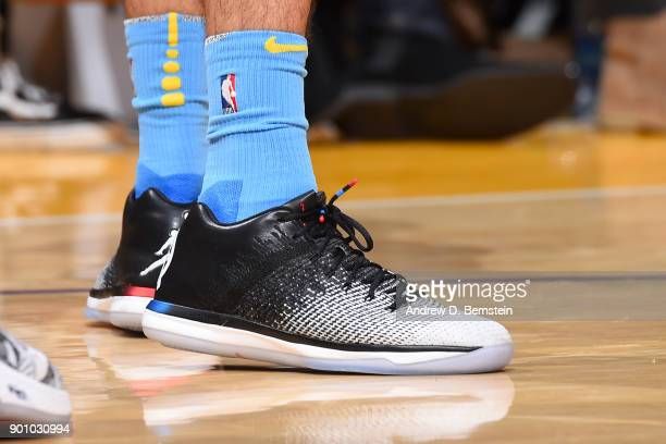 Sneakers of Tyler Ennis of the Los Angeles Lakers during the game against the Oklahoma City Thunder on January 3 2018 at STAPLES Center in Los...