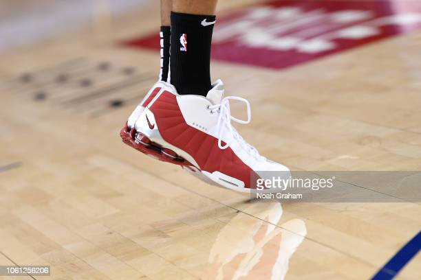 Sneakers of Vince Carter of the Atlanta Hawks before the game against the Charlotte Hornets on November 13 2018 at ORACLE Arena in Oakland California...