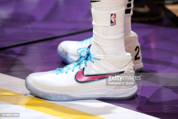 Sneakers of Wayne Ellington of the Miami Heat during the JBL ThreePoint Contest during State Farm AllStar Saturday Night as part of the 2018 NBA...