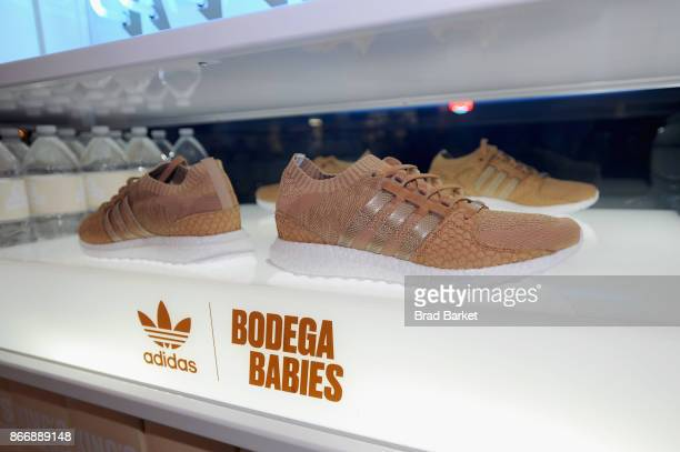 Sneakers on display at the Launch Of Pusha T's Latest Collaboration With adidas Originals KING PUSH X ADIDAS ORIGINALS EQT 'BODEGA BABIES' on October...