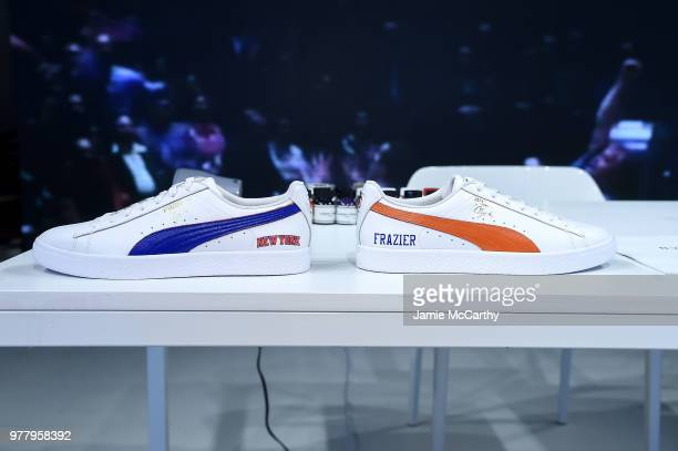 PUMA sneakers on display at the PUMA Hoops HQ kickoff where Walt Clyde Frazier signs the first ever life long contract with PUMA on June 18 2018 in...