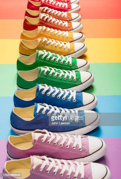 lgbt sneakers - multi colored shoe stock pictures, royalty-free photos & images