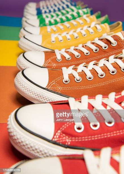 lgbt sneakers - royal blue stock pictures, royalty-free photos & images