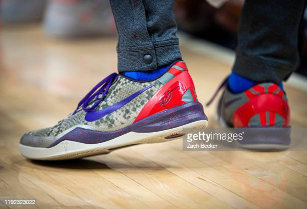 Sneakers worn by Abdel Nader of the Oklahoma City Thunder against the Indiana Pacers on November 12 2019 at Chesapeake Energy Arena in Oklahoma City...