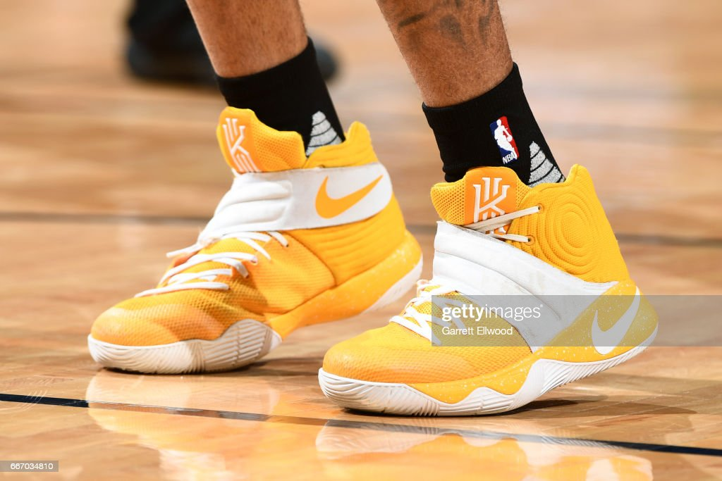 Sneakers worn by D'Angelo Russell #1 of the Los Angeles Lakers during the game against the Denver Nuggets on March 13, 2017 at the Pepsi Center in Denver, Colorado.