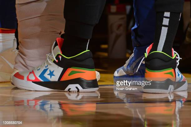 Sneakers worn by Draymond Green of the Golden State Warriors on March 5 2020 at Chase Center in San Francisco California NOTE TO USER User expressly...