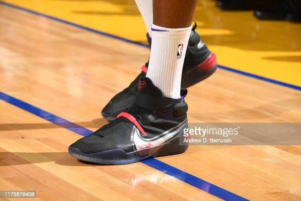 Sneakers worn by Dwight Howard of the Los Angeles Lakers against the Golden State Warriors during the preseason on October 5 2019 at Chase Center in...