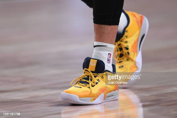 Sneakers worn by Jeremy Lin of the Santa Cruz Warriors during the game on February 15, 2021 at AdventHealth Arena in Orlando, Florida. NOTE TO USER:...