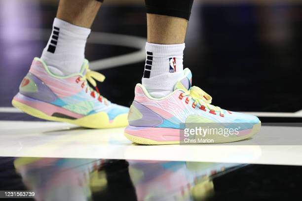 Sneakers worn by Jeremy Lin of the Santa Cruz Warriors during the game on March 6, 2021 at HP Field House in Orlando, Florida. NOTE TO USER: User...