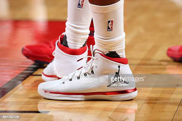 Sneakers worn by Jimmy Butler of the Chicago Bulls during the game against the New Orleans Pelicans on January 14 2017 at the United Center in...