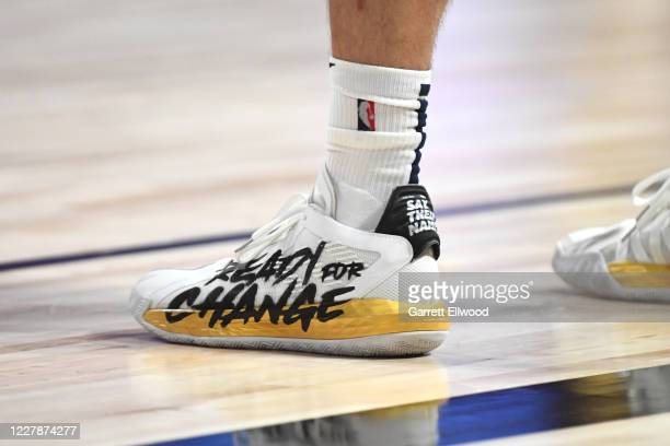 Sneakers worn by JJ Redick of the New Orleans Pelicans during the game on August 1 2020 at HP Field House at ESPN Wide World of Sports in Orlando...