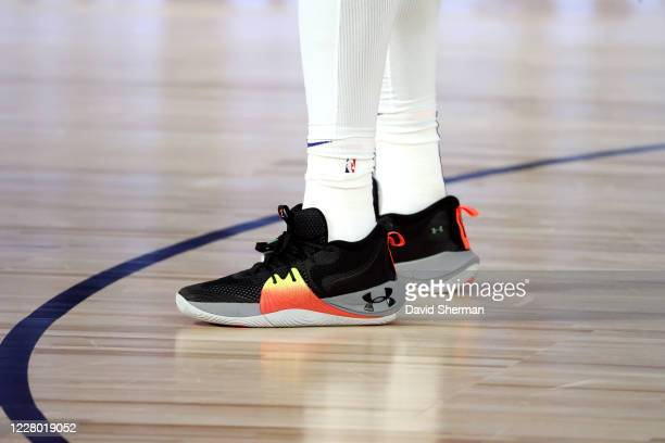 Sneakers worn by Joel Embiid of the Philadelphia 76ers on August 12, 2020 at The Field House in Orlando, Florida. NOTE TO USER: User expressly...