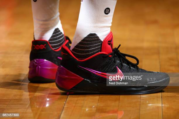 Sneakers worn by John Wall of the Washington Wizards during the game against the Boston Celtics during Game Six of the Eastern Conference Semifinals...