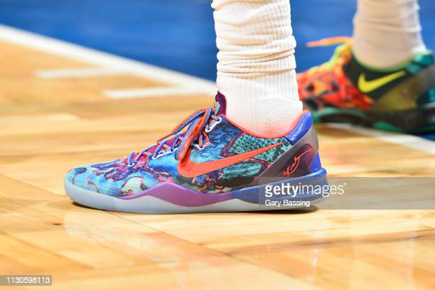 Sneakers worn by Jordan Clarkson of the Cleveland Cavaliers against the Orlando Magic on March 14 2019 at Amway Center in Orlando Florida NOTE TO...