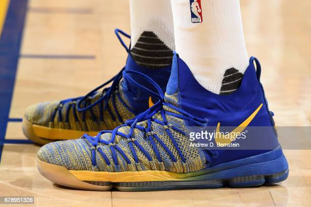 Sneakers worn by Kevin Durant of the Golden State Warriors during the game against the Utah Jazz during Game Two of the Western Conference Semifinals...