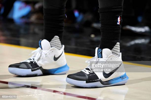 Sneakers worn by Kyrie Irving of the Cleveland Cavaliers during the game against the Minnesota Timberwolves on February 1 2017 at Quicken Loans Arena...