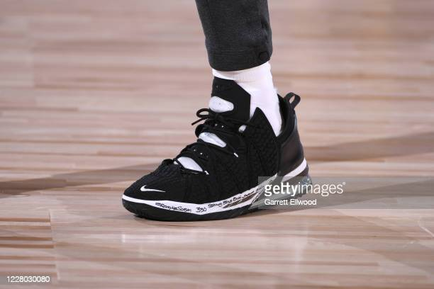 Sneakers worn by LeBron James of the Los Angeles Lakers on August 13 2020 at The Field House in Orlando Florida NOTE TO USER User expressly...