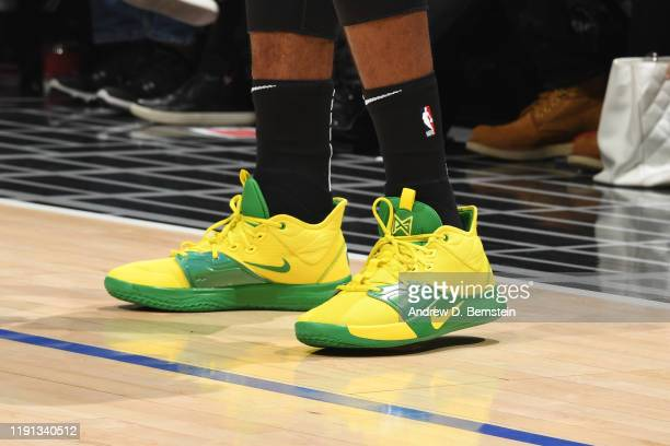 Sneakers worn by Paul George of the LA Clippers against the Detroit Pistons on January 2 2020 at STAPLES Center in Los Angeles California NOTE TO...