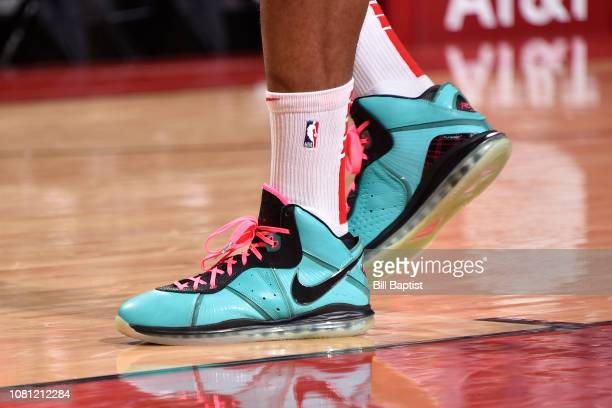 Sneakers worn by PJ Tucker of the Houston Rockets in the 2nd half against the Cleveland Cavaliers on January 11 2019 at the Toyota Center in Houston...