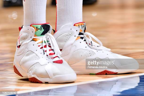 Sneakers worn by PJ Tucker of the Houston Rockets in the second half against the Orlando Magic on January 13 2019 at Amway Center in Orlando Florida...