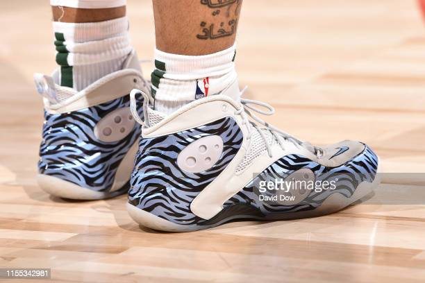 Sneakers worn by Rayjon Tucker of the Milwaukee Bucks against the Portland Trail Blazers during Day 8 of the 2019 Las Vegas Summer League on July 12...