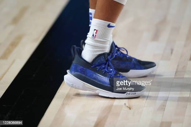 Sneakers worn by Seth Curry of the Dallas Mavericks during Round One, Game One of the NBA Playoffs on August 17, 2020 at AdventHealth Arena in...