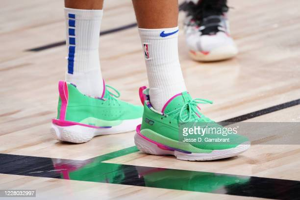 Sneakers worn by Seth Curry of the Dallas Mavericks during the game on August 13, 2020 at AdventHealth Arena in Orlando, Florida. NOTE TO USER: User...