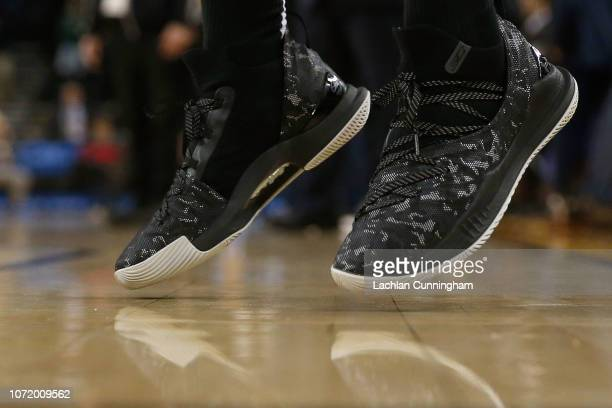 Sneakers worn by Stephen Curry of the Golden State Warriors are seen during the warm up before the game between the Golden State Warriors and the...