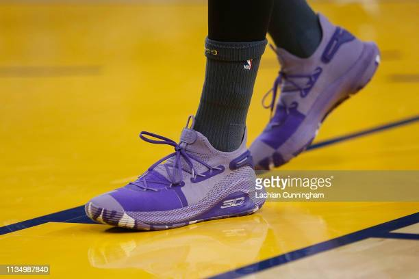 Sneakers worn by Stephen Curry of the Golden State Warriors before the game against the Denver Nuggets at ORACLE Arena on March 8, 2019 in Oakland,...
