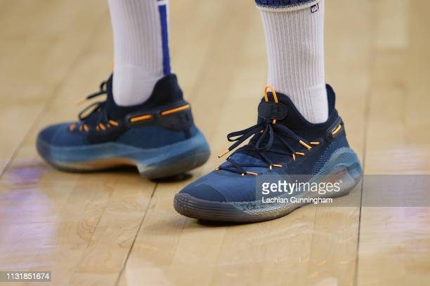 Sneakers worn by Stephen Curry of the Golden State Warriors during the warm up before the game against the Sacramento Kings at ORACLE Arena on...