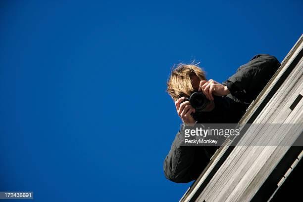 Pistas fotógrafo cielo azul