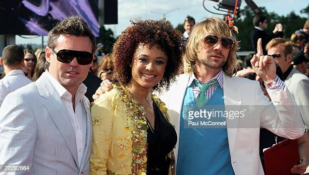Sneaky Sound System's Black Angus Connie Mitchell and MC Double D arrive at the ARIA Awards 2006 at the Acer Arena on October 29 2006 in Sydney...