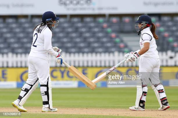 Sneh Rana and Taniya Bhatia of India build a partnership on Day four of the LV= Insurance Test Match between England Women and India Women at Bristol...