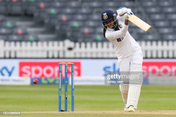 Sneh Rana of India batting on Day four of the LV= Insurance Test Match between England Women and India Women at Bristol County Ground on June 19,...