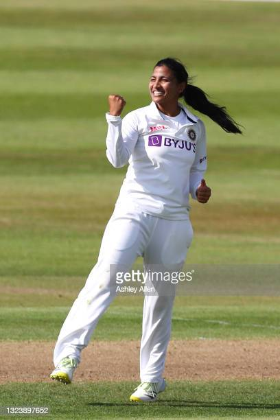 Sneh Rana of India celebrates a wicket on Day One of the LV= Insurance Test Match between England Women and India Women at Bristol County Ground on...