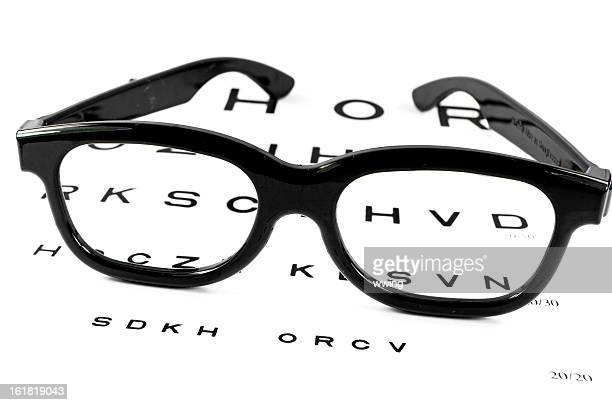 Snelling Eye Chart with Glasses resting upon it