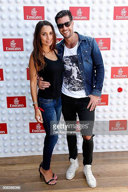 Snezana Markoski and Sam Wood arrive at the Emirates Suite during day 6 of the 2016 Australian Open at Melbourne Park on January 23 2016 in Melbourne...