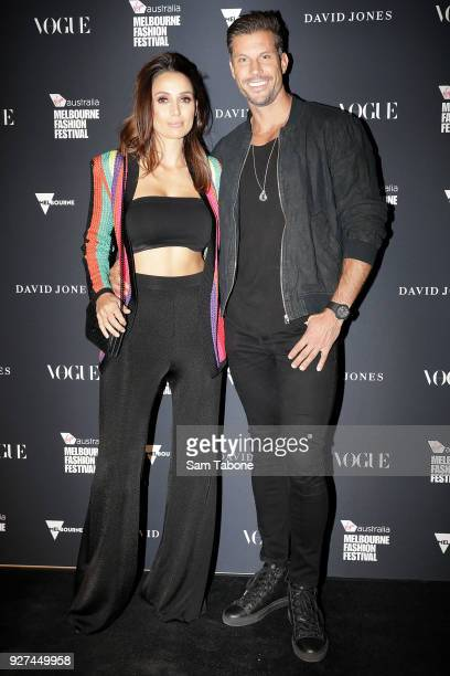 Snezana Markoski and Sam Wood arrives ahead of the VAMFF 2018 Gala Runway presented by David Jones on March 5 2018 in Melbourne Australia